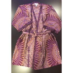 Oscar de la Renta Short Satin Wrap Robe